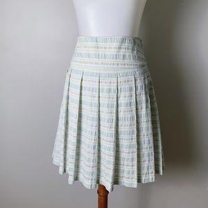 CLUB MONACO Pleated Metallic Seersucker Skirt